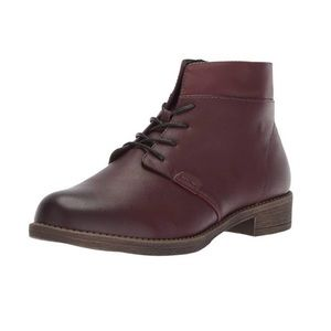 Saunders Burgundy Lace Up Combat Boot Wide Fit